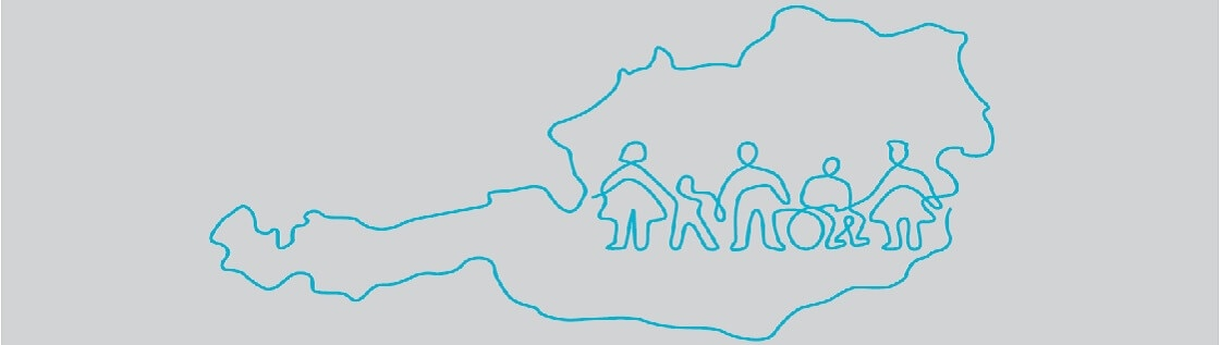 Stronger Together Logo in Österreich Umriss